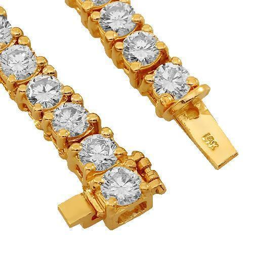 14K Yellow Gold Mens Diamond Tennis Chain 37.25 Ctw