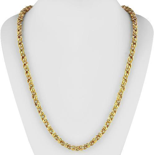 14K Yellow Solid Gold Mens Diamond Customized Chain 21.50 Ctw