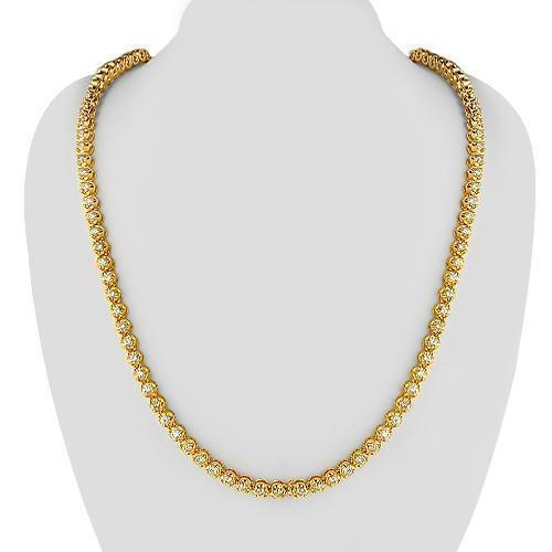 14K Yellow Solid Gold Mens Diamond Tennis Chain 23.00 Ctw