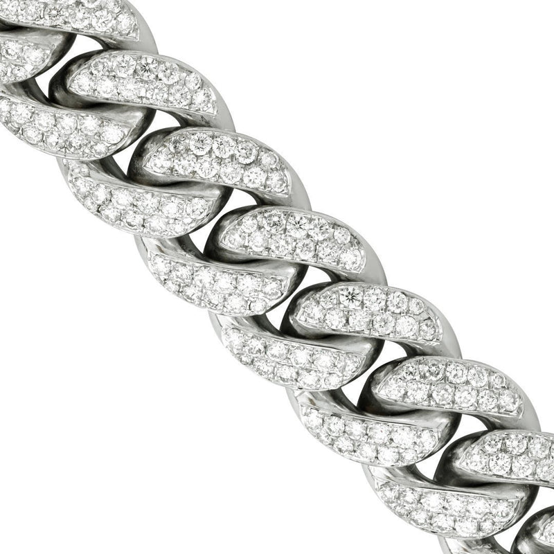 Diamond Cuban Link Chain in 14k White Gold 17 inches 21.11 Ctw 14.5 mm