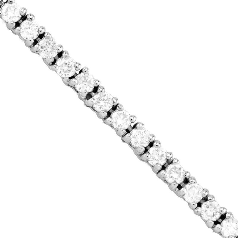 Diamond Tennis Chain in 10k White Gold 22 Inches 2 mm 5.40 Ctw