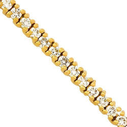 Diamond Tennis Chain in 14k Yellow Gold 24 inches 11.50 Ctw 3.5 mm