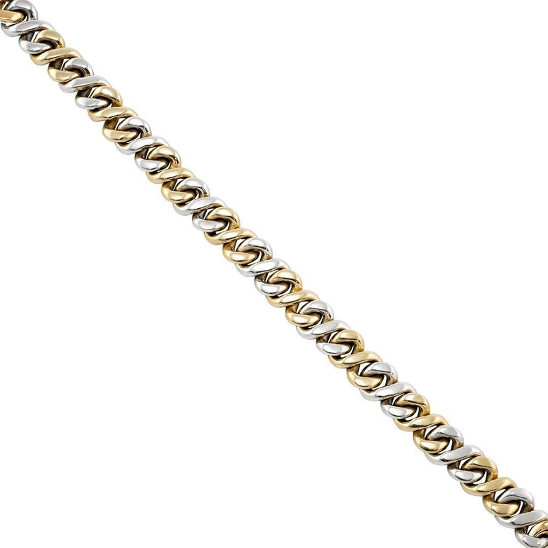 Two Tone Gold Diamond Infinity Cuban Link Chain 21.5 Inches 9 mm 18 Ctw