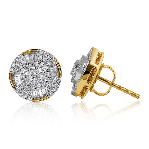Yellow 10k Yellow Gold Cluster Diamond Earrings .54 CTW