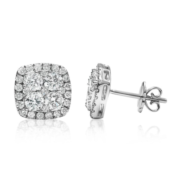 White 18K White Gold Four Diamond Cluster Earrings 1.52 CTW
