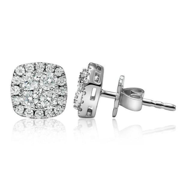 White 18K White Gold Four Diamond Cluster Earrings .65 CTW