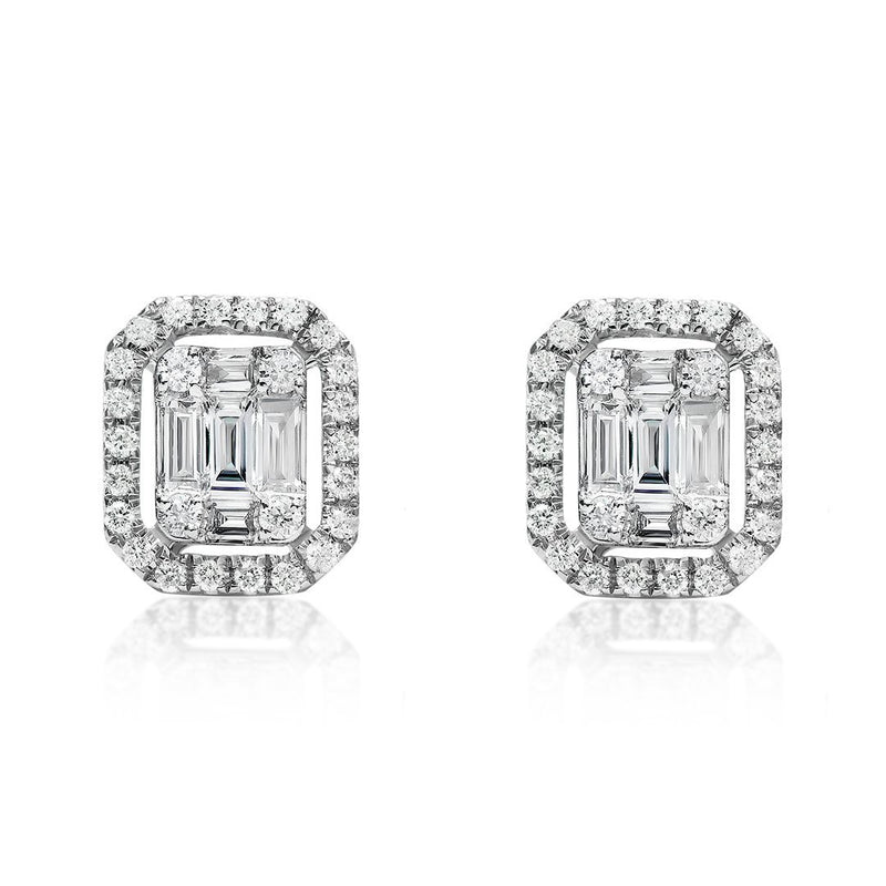 White 18K White Gold Half Carat Baguette and Round Cut Diamond Earrings