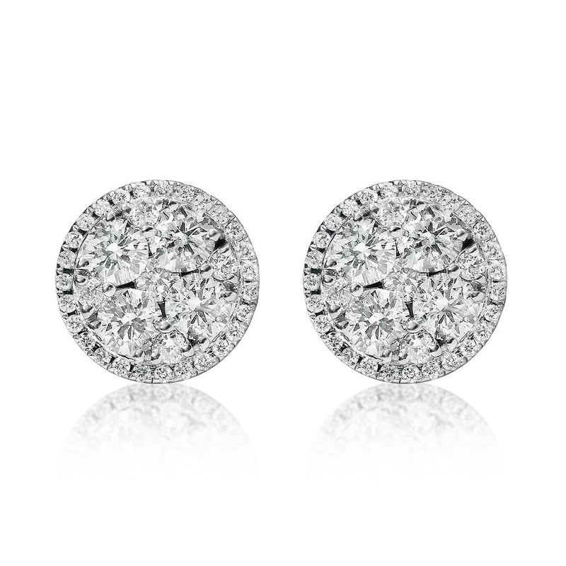 White 18K White Gold Round Shaped Two Carat Cluster Diamond Earrings