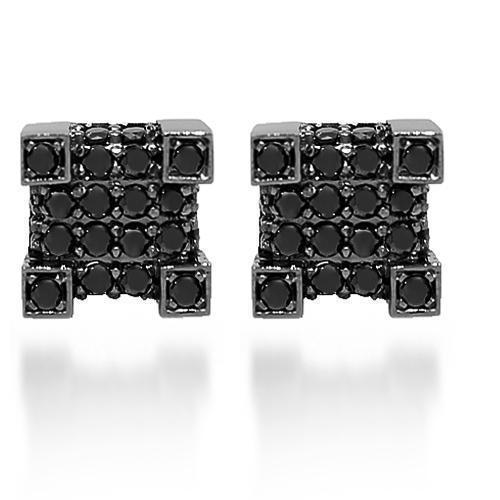 Black Rhodium Plated 10K Solid Gold Black Rhodium Plated Diamond Stud Earrings with Black Diamonds 1.26 Ctw