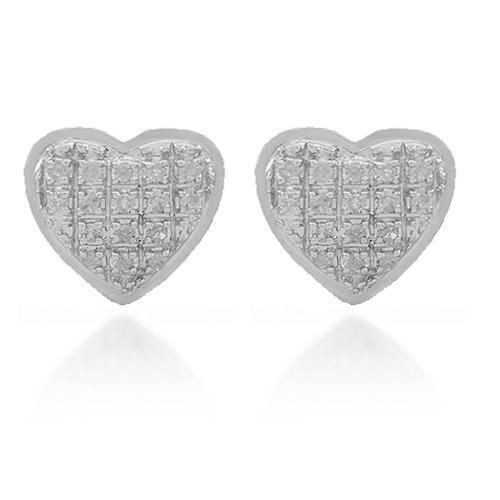 White 10K Solid White Gold Womens Diamond Heart Stud Earrings 0.11 Ctw