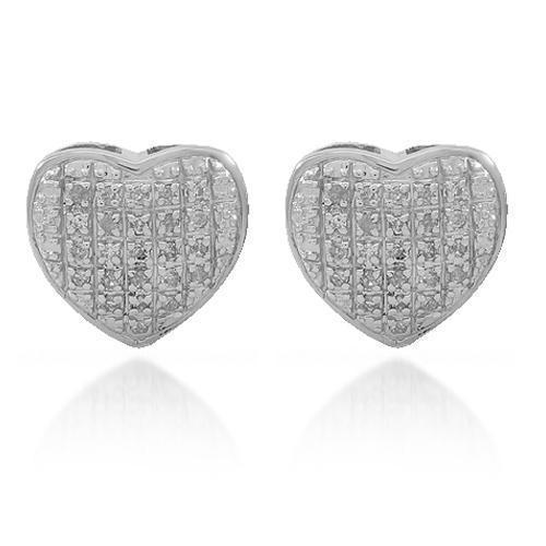White 10K Solid White Gold Womens Diamond Heart Stud Earrings 0.16 Ctw