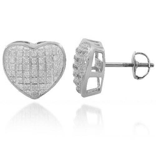 White 10K Solid White Gold Womens Diamond Heart Stud Earrings 0.25 Ctw