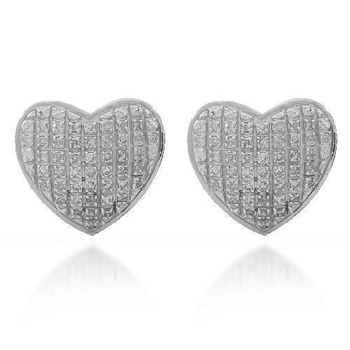 White 10K Solid White Gold Womens Diamond Heart Stud Earrings 0.30 Ctw