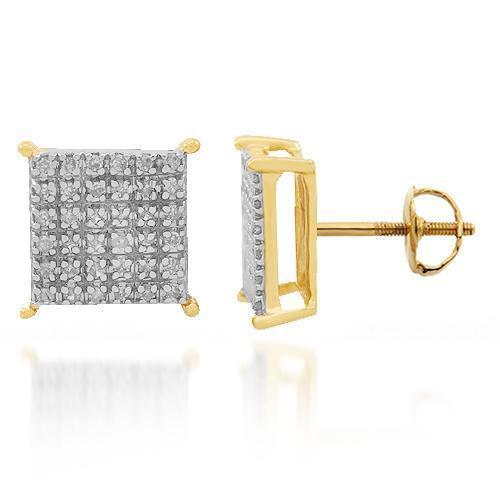 Yellow 10K Solid Yellow Gold Diamond Stud Earrings 0.25 Ctw.