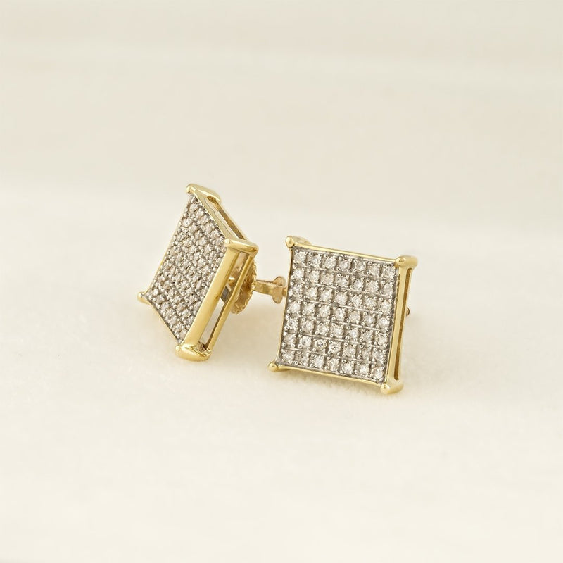 Yellow 10K Solid Yellow Gold Diamond Stud Earrings 0.32 Ctw