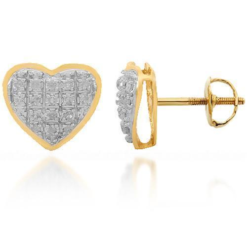 Yellow 10K Solid Yellow Gold Womens Diamond Heart Stud Earrings 0.11 Ctw