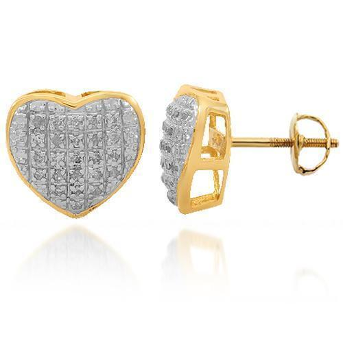 Yellow 10K Solid Yellow Gold Womens Diamond Heart Stud Earrings 0.16 Ctw