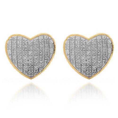 Yellow 10K Solid Yellow Gold Womens Diamond Heart Stud Earrings 0.30 Ctw