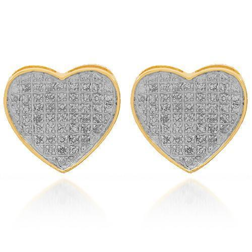 Yellow 10K Solid Yellow Gold Womens Diamond Heart Stud Earrings 0.32 Ctw
