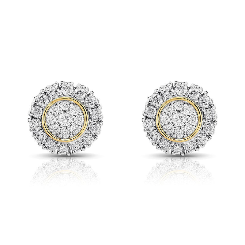 Yellow and White 10K Two Tone GOLD DIAMOND STUD EARRINGS 0.77 CTW
