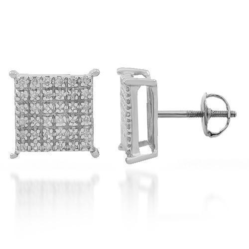 White 10K White Gold Diamond Stud Earrings 0.25 Ctw