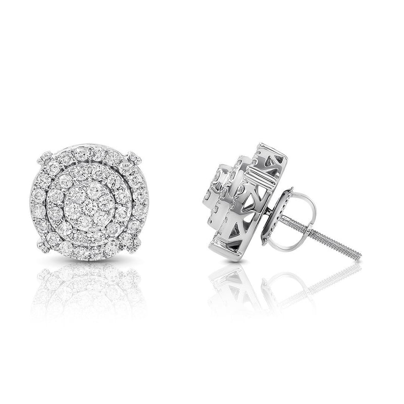 White 10K WHITE GOLD DIAMOND STUD EARRINGS 0.75 CTW