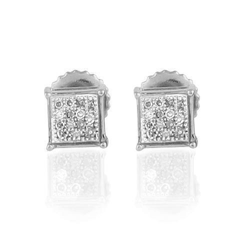 White 10K White Solid Gold Small Unisex Classy Stud Earrings With White Diamonds 0.10 Ctw