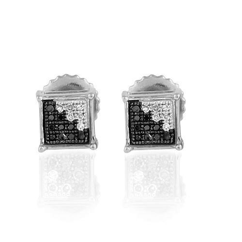 White 10K White Solid Gold Unisex Classy Stud Earrings With Small Black And White Diamonds 0.10 Ctw