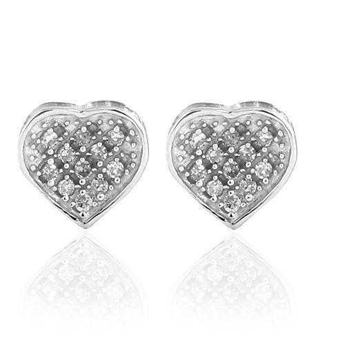 White 10K White Solid Gold Womens Classy Heart Earrings With White Diamonds 0.10 Ctw
