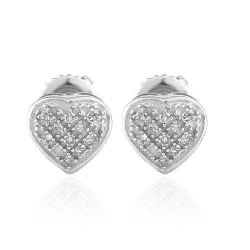 White 10K White Solid Gold Womens Small Heart Earrings With White Diamonds 0.10 Ctw