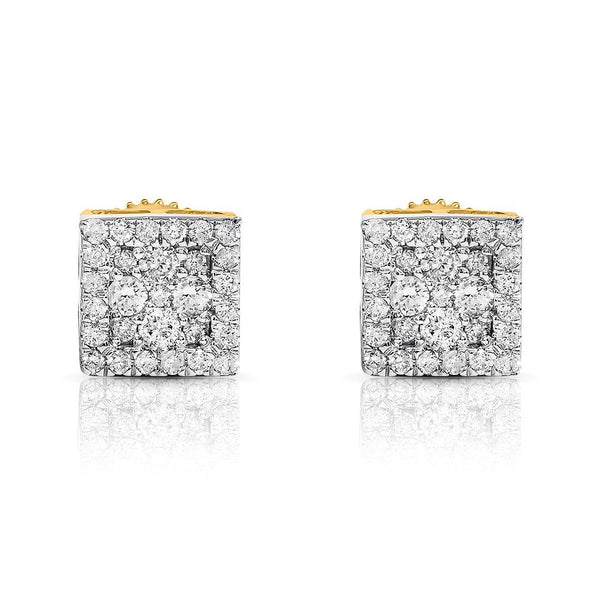 10K YELLOW GOLD DIAMOND SQTARE STUD EARRINGS 0.31 CTW