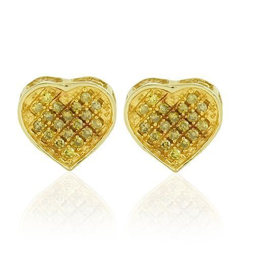 Yellow 10K Yellow Solid Gold Womens Heart Earrings With Yellow Diamonds 0.17 Ctw