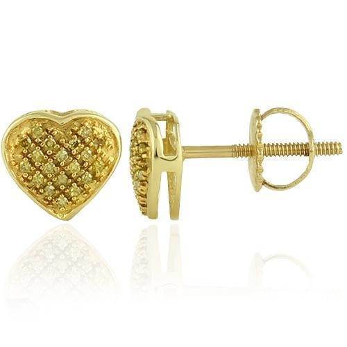 Yellow 10K Yellow Solid Gold Womens Small Heart Earrings With Yellow Diamonds 0.16 Ctw