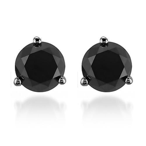Black Rhodium Plated 14K Solid Gold Black Rhodium Plated Black Diamond Solitaire Stud Earrings 1.90 Ctw