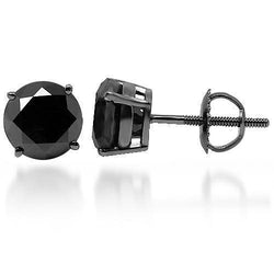 Black Rhodium Plated 14K Solid Gold Black Rhodium Plated Black Diamond Solitaire Stud Earrings 3.31 Ctw