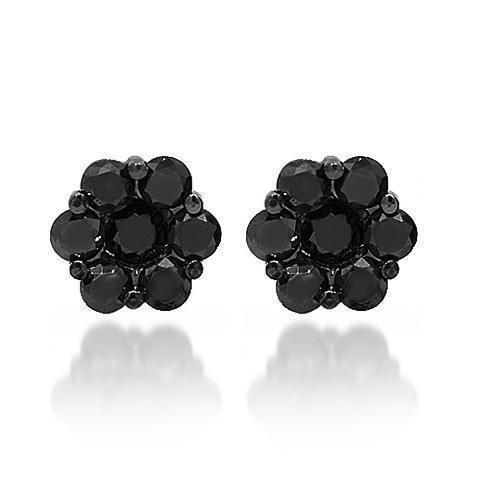 Black Rhodium Plated 14K Solid Gold Black Rhodium Plated Cluster Diamond Stud Earrings with Black Diamonds 2.50 Ctw