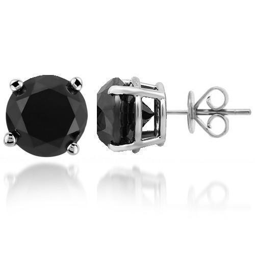 14K Solid White Gold  Black Diamond Solitaire Stud Earrings 7.00 Ctw