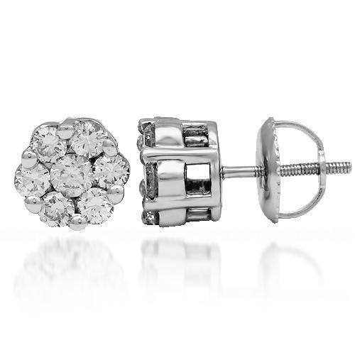 White 14K Solid White Gold Diamond Cluster Stud Earrings 0.95 Ctw
