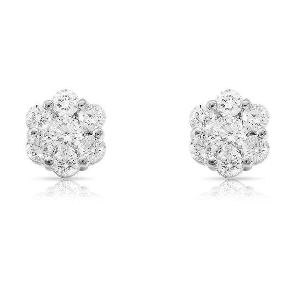 White 14K Solid White Gold Diamond Cluster Stud Earrings 1.15 Ctw