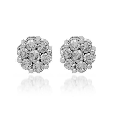 White 14K Solid White Gold Diamond Cluster Stud Earrings 1.35 Ctw