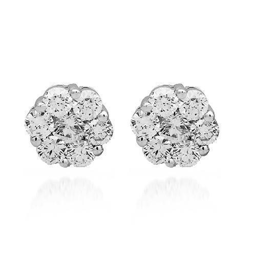 White 14K Solid White Gold Diamond Cluster Stud Earrings 1.43 Ctw