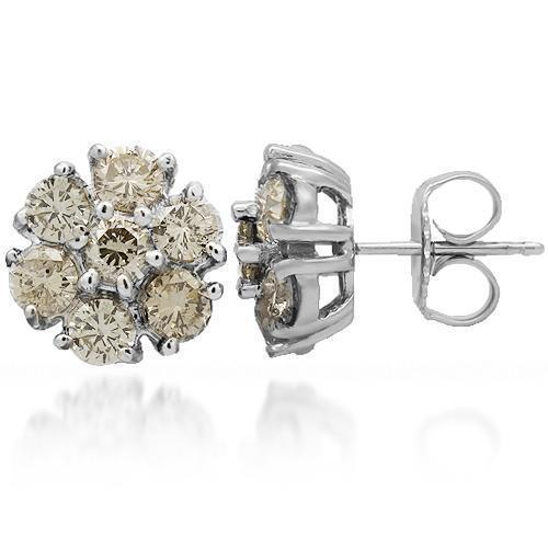 14K Solid White Gold Diamond Cluster Stud Earrings 2.75 Ctw