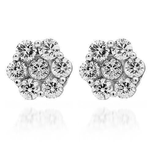 14K Solid White Gold Diamond Cluster Stud Earrings 3.15 Ctw