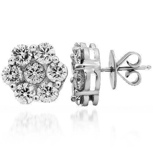 14K Solid White Gold Diamond Cluster Stud Earrings 6.30 Ctw