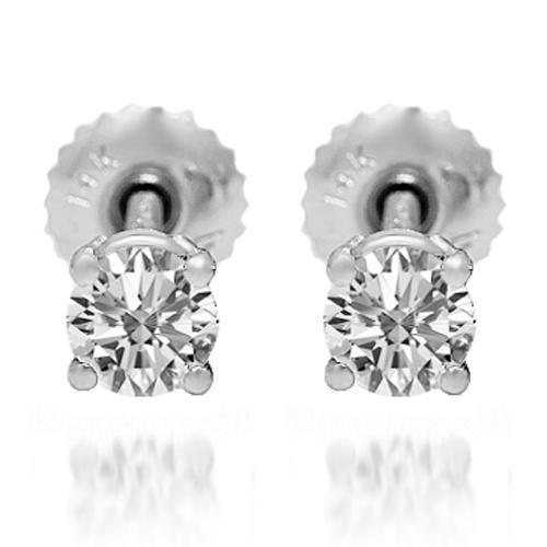 White 14K Solid White Gold Diamond Solitaire Stud Earrings 0.60 Ctw