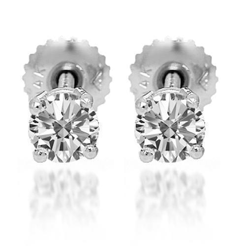 White 14K Solid White Gold Diamond Solitaire Stud Earrings 0.63 Ctw