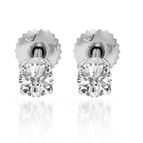 White 14K Solid White Gold Diamond Solitaire Stud Earrings 0.65 Ctw