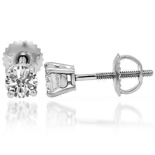 White 14K Solid White Gold Diamond Solitaire Stud Earrings 0.75 Ctw