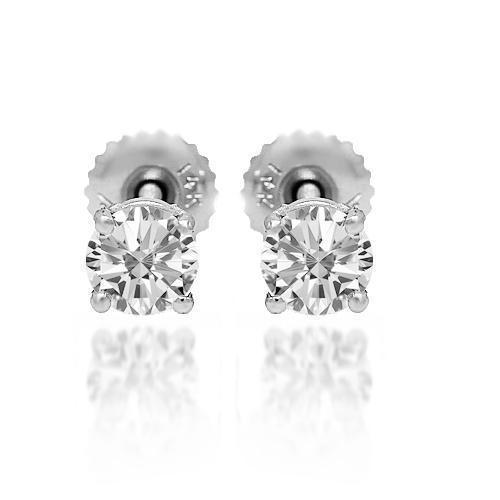 White 14K Solid White Gold Diamond Solitaire Stud Earrings 0.85 Ctw