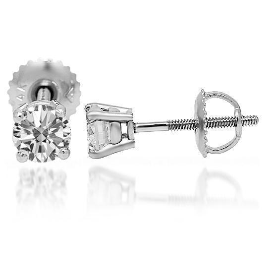 White 14K Solid White Gold Diamond Solitaire Stud Earrings 0.95 Ctw